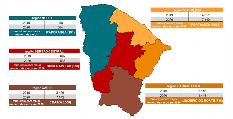 Mapa mostra casos de dengue no Ceará