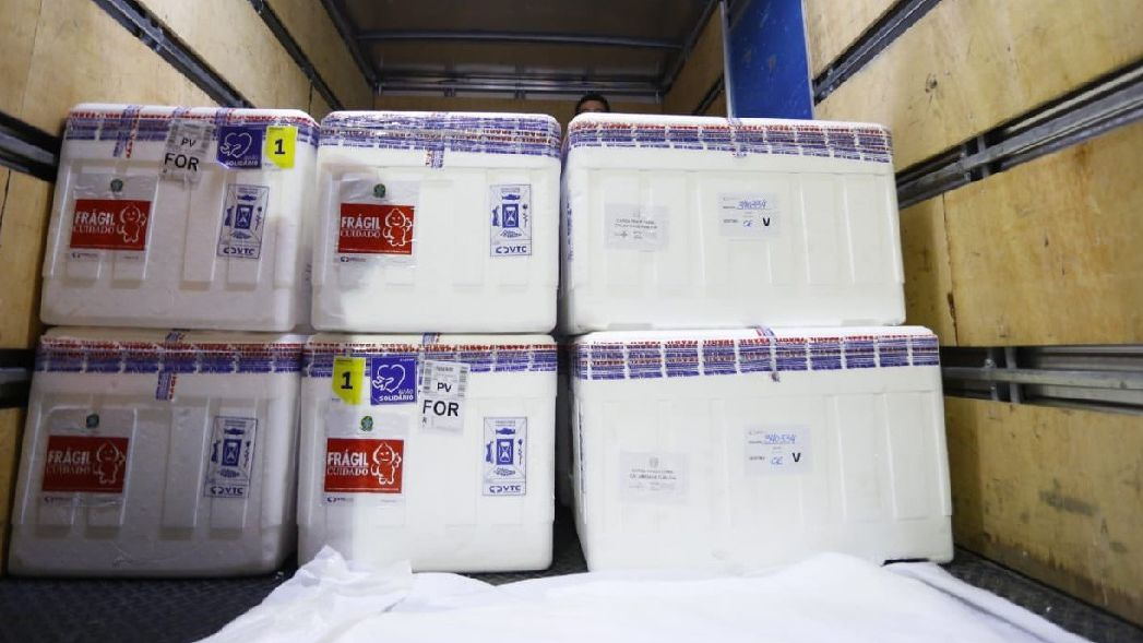 115 mil doses da CoronaVac que chegaram ao Ceará no dia 6 de janeiro