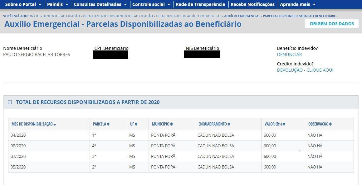 Pagamento do auxílio-emergencial a Paulo Sérgio é detalhado no site do Portal da Transparência