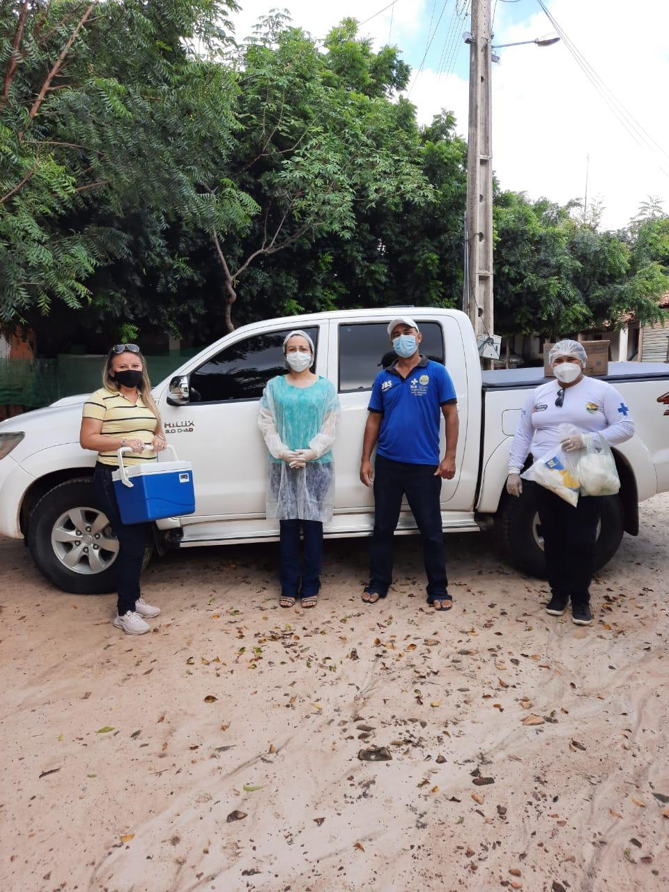 Uma das equipes de vacinação do município de Granja