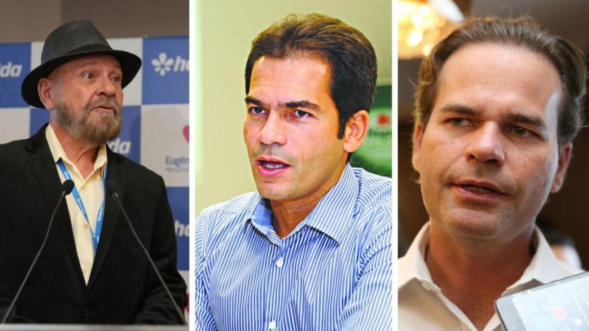 Foto montagem com Cândido Pinheiro, Cândido Pinheiro Jr e Jorge Pinheiro, cearenses na Lista da Forbes 2021