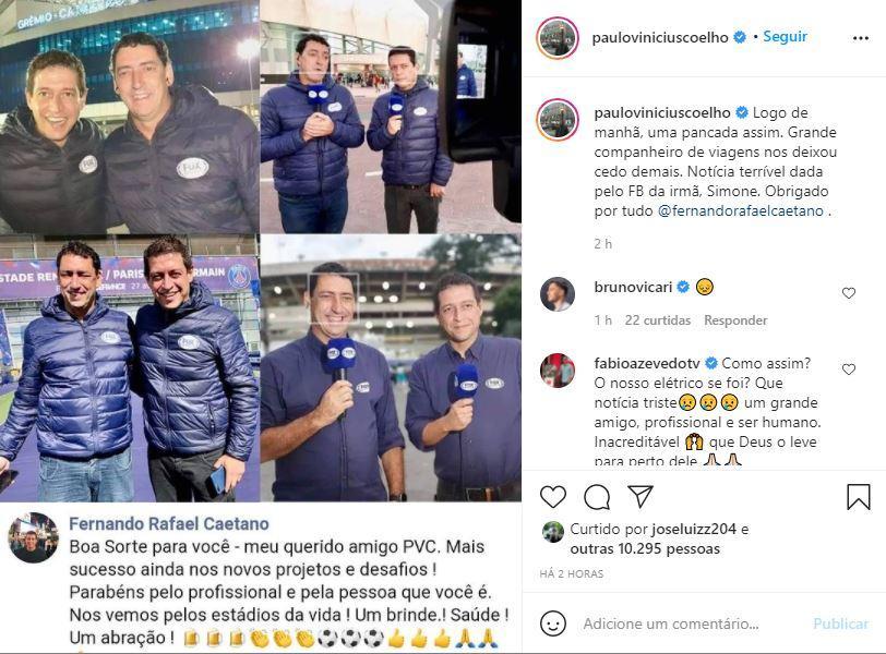 Postagem de Paulo Vinícius Coelho sobre morte de Fernando Caetano