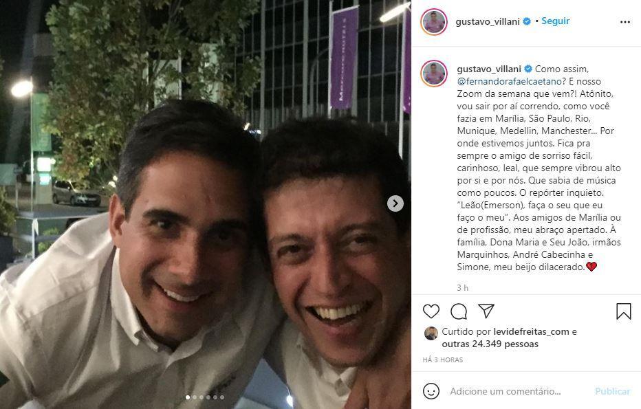 Postagem de Gustavo Villani sobre morte de Fernando Caetano