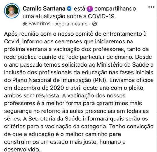 Anúncio de Camilo