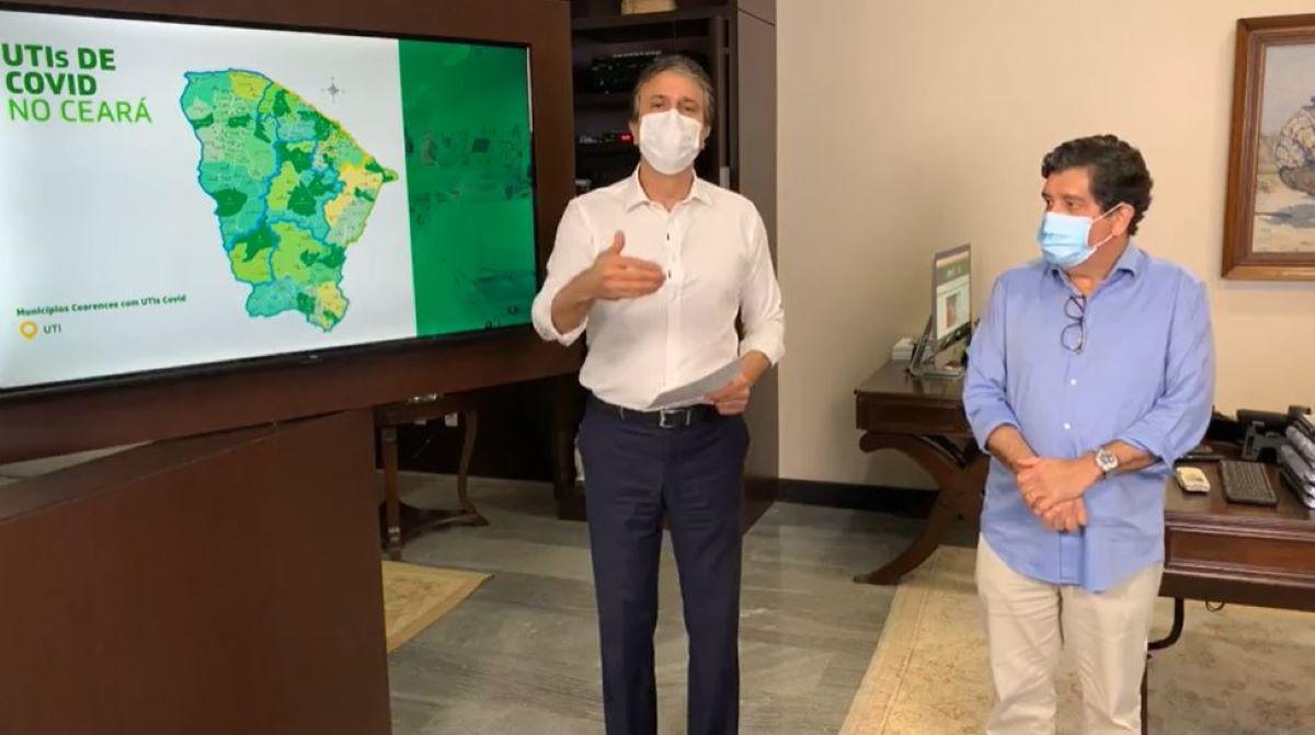 camilo santana e dr. cabeto em live de anúncio de novo decreto