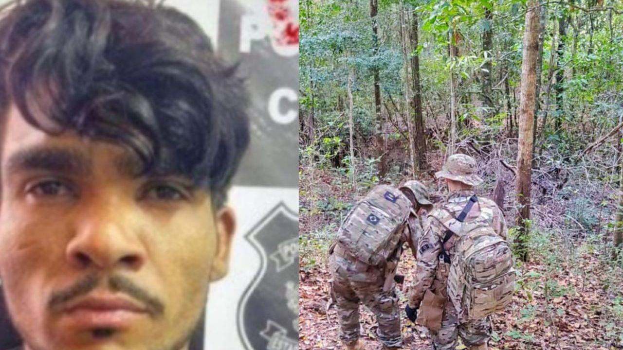 Montagem da imagem de Lazaro Barbosa e das buscas por ele em matagal de Goiás