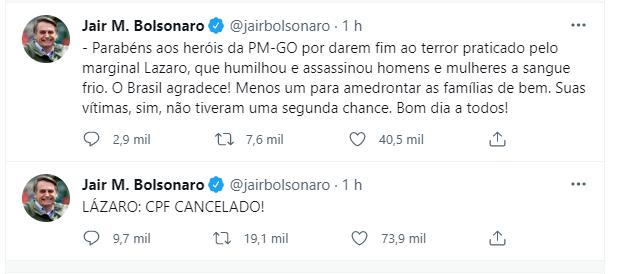 Print da publicação de Bolsonaro