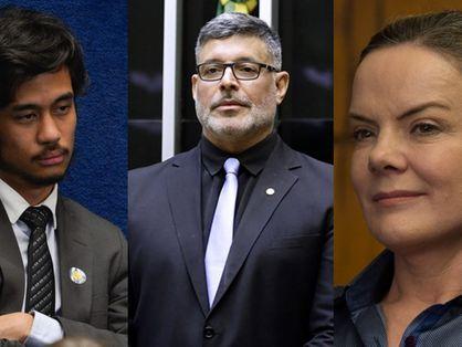 Kim Kataguiri (DEM), Alexandre Frota (PSDB) e Gleisi Hoffmann (PT)
