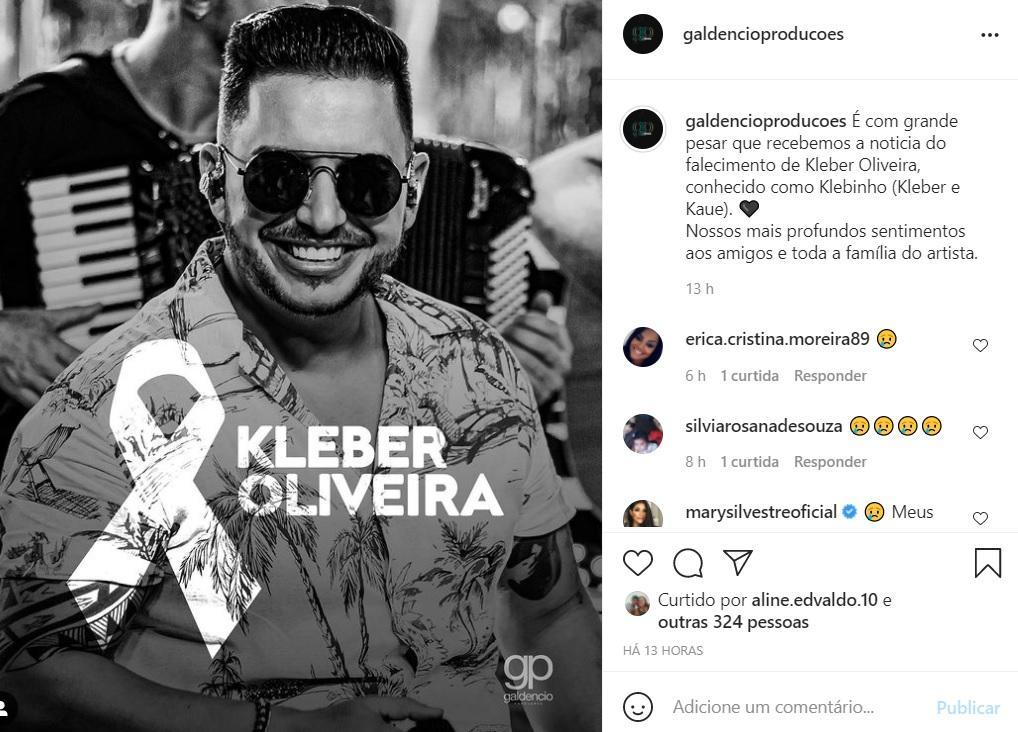 Homenagem postada para Kleber em rede social de produtora