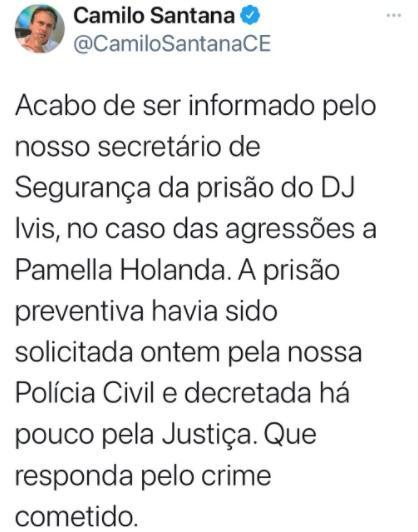 Post sobre prisão de DJ Ivis