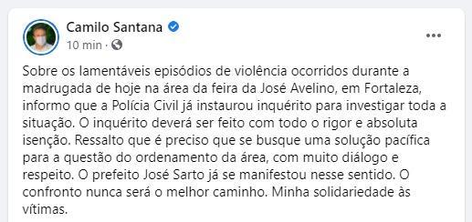 Governador Camilo Santana lamenta episódio