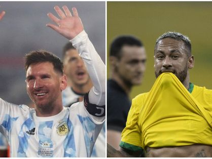 Messi e Neymar em jogos pelas seleções