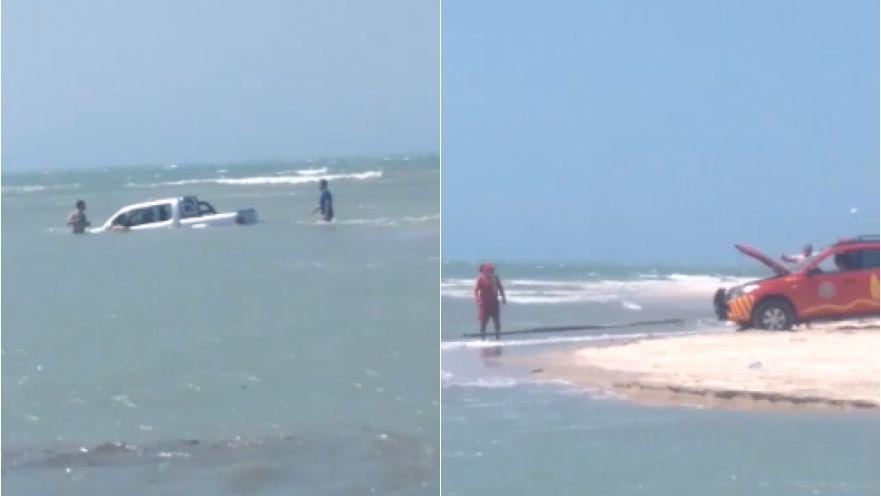 Picape de turista atola, e veículo fica quase submerso no mar de Jijoca de Jericoacora, no Ceará