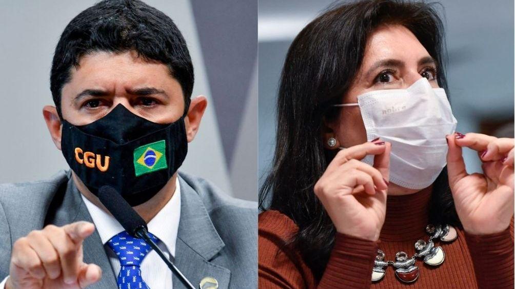 Montagem com fotos de Wagner Rosário (à esquerda) e Simone Tebet (à direita), ambos na CPI da Covid