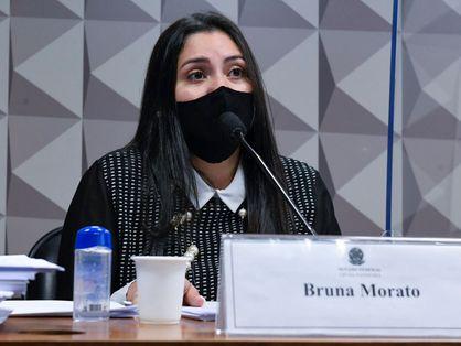 A advogada Bruna Morato na Comissão Parlamentar de Inquérito (CPI) da Covid, no Senado, nesta terça-feira, 28