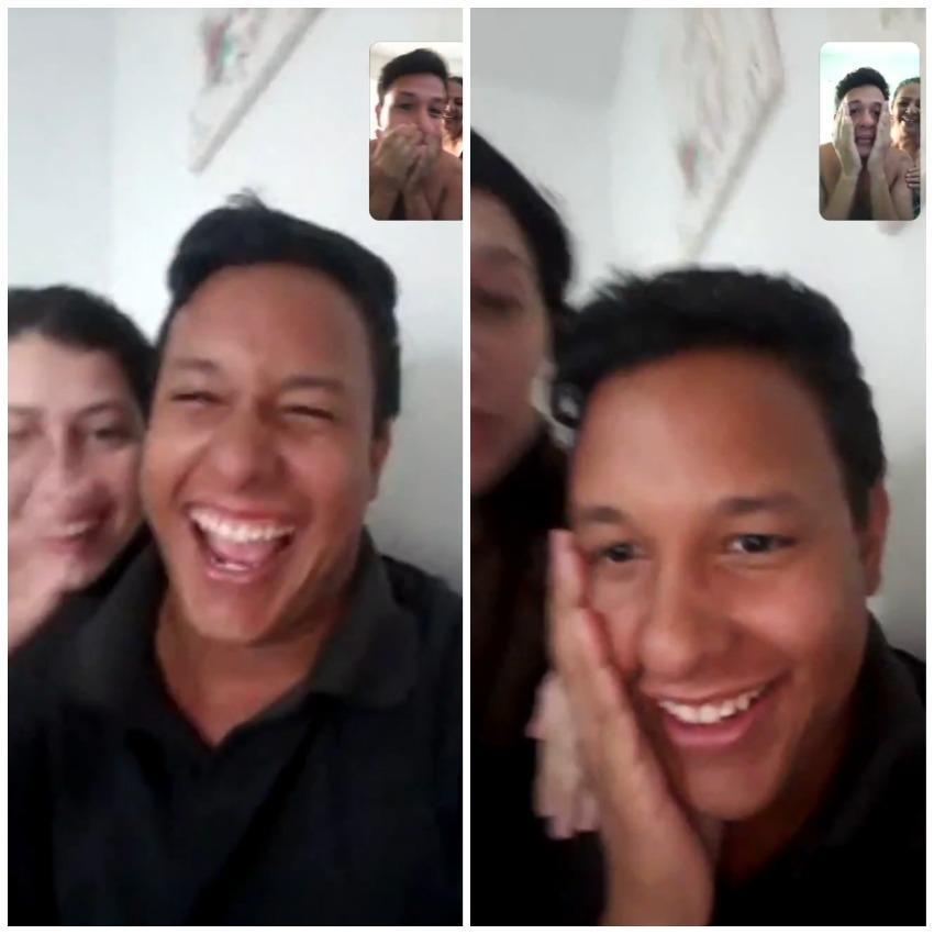 Imagem do reencontro virtual entre os irmãos