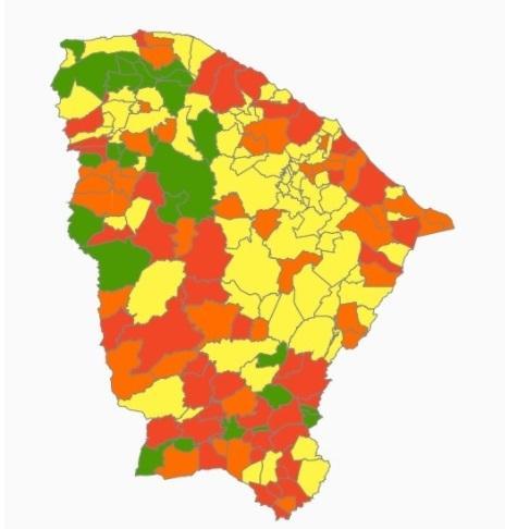Cidades em verde: risco 1, novo normal / Amarelo: risco 2, moderado / Laranja: risco 3, alto / Vermelho: risco 4, altíssimo