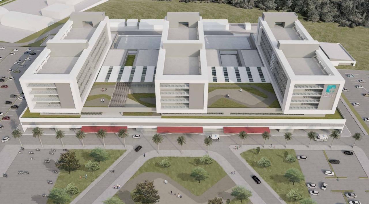 Maquete que mostra os blocos do Hospital Universitário da Uece