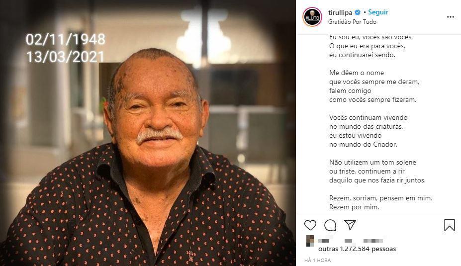 Publicação sobre morte de sogro do Tirullipa