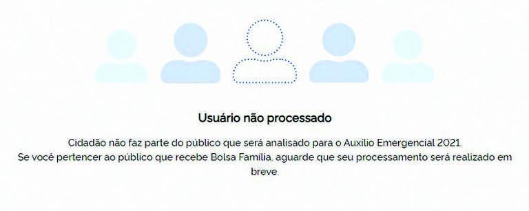 Usuário não processado