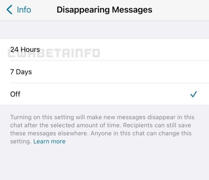 Tela doa plicativo WhatsApp mostrando disponibilidade de mensagens temporárias de 24 h