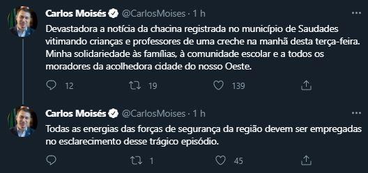 Posicionamento do governador de Santa Catarina após atentado