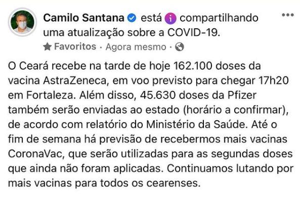 Camilo anuncia chegada de novo lote de vacinas contra a Covid-19 no facebook
