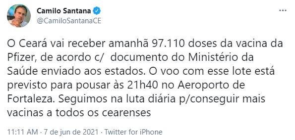 Camilo Santana anuncia chegada de novo lote de vacinas contra a Covid-19 da Pfizer ao Ceará