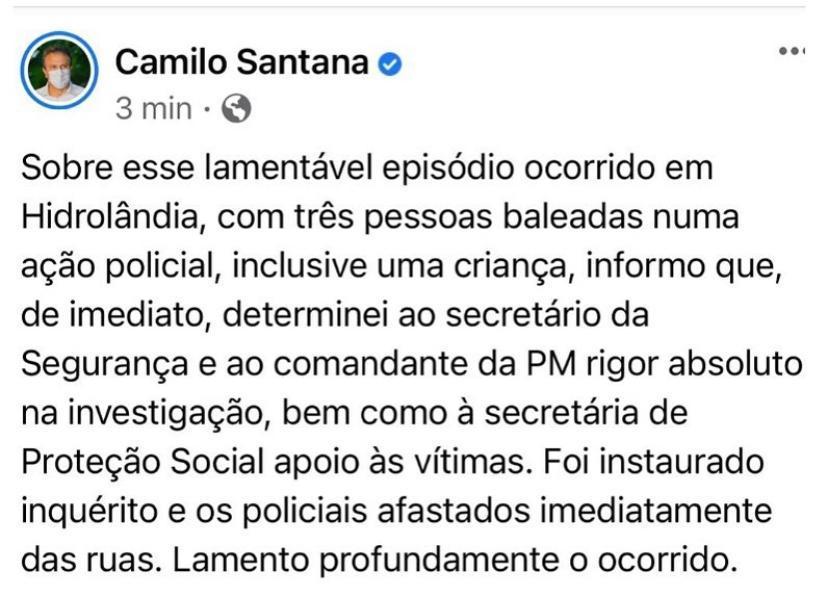 Camilo Santana em post nas redes sociais lamenta episódio