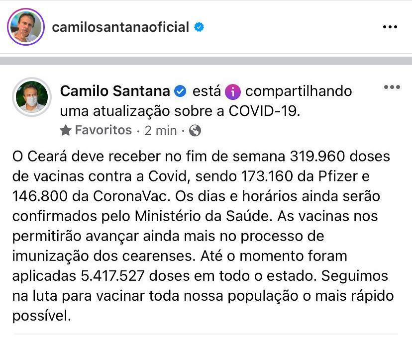 vacinas chegam ao Ceará