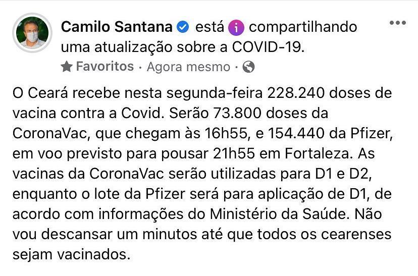 camilo santana anuncia chegada de mais vacinas