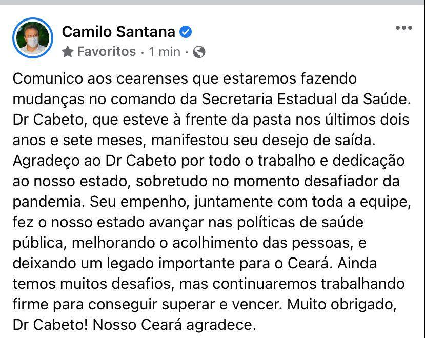 Camilo Santana anuncia saída de Cabeto nas redes sociais
