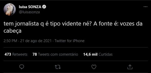 Tuíte de Luísa Sonza