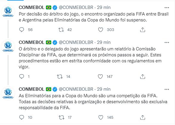 Conmebol no Twitter sobre Brasil e Argentina