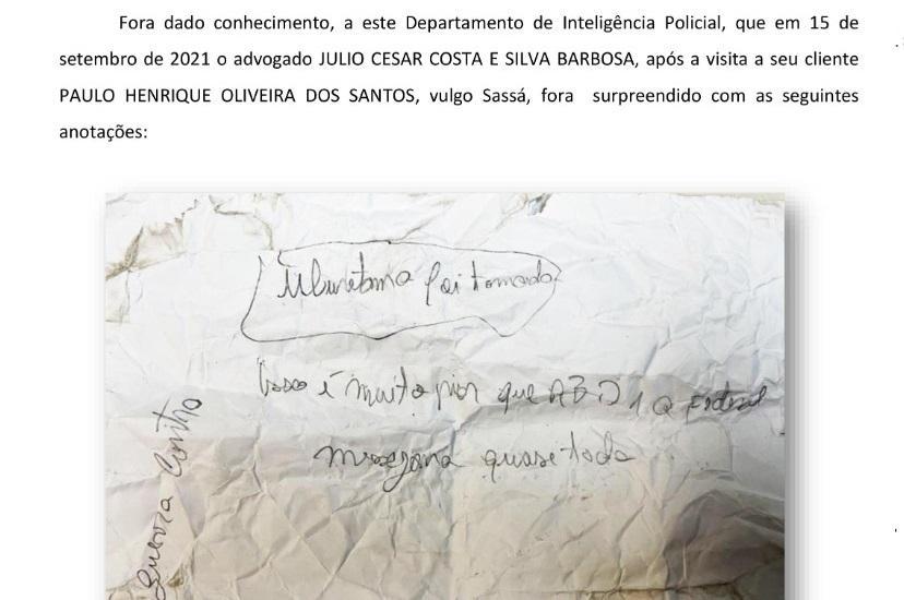 advogado preso bilhete seguranca maxima