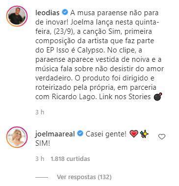 Comentário de Joelma em postagem de Leo Dias