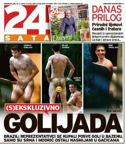 Jornal croata '24sata' divulgou as imagens dos jogadores nus na piscina de um hotel na Bahia