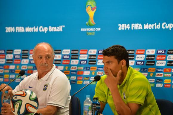 Felipão e Thiago Silva participaram da coletiva desta sexta-feira