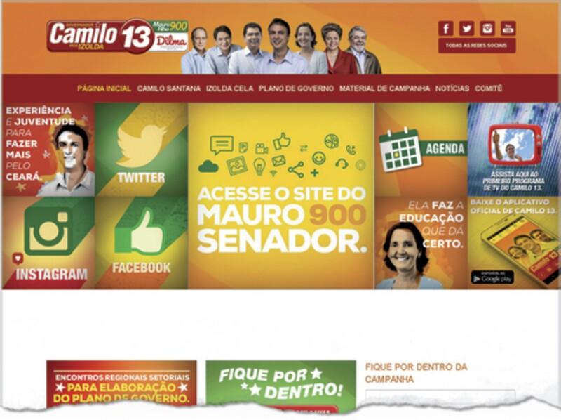 Fac-símile da capa do site do candidato ao Governo do Estado, Camilo Santana, representando a aliança liderada pelo governador do Estado, Cid Gomes