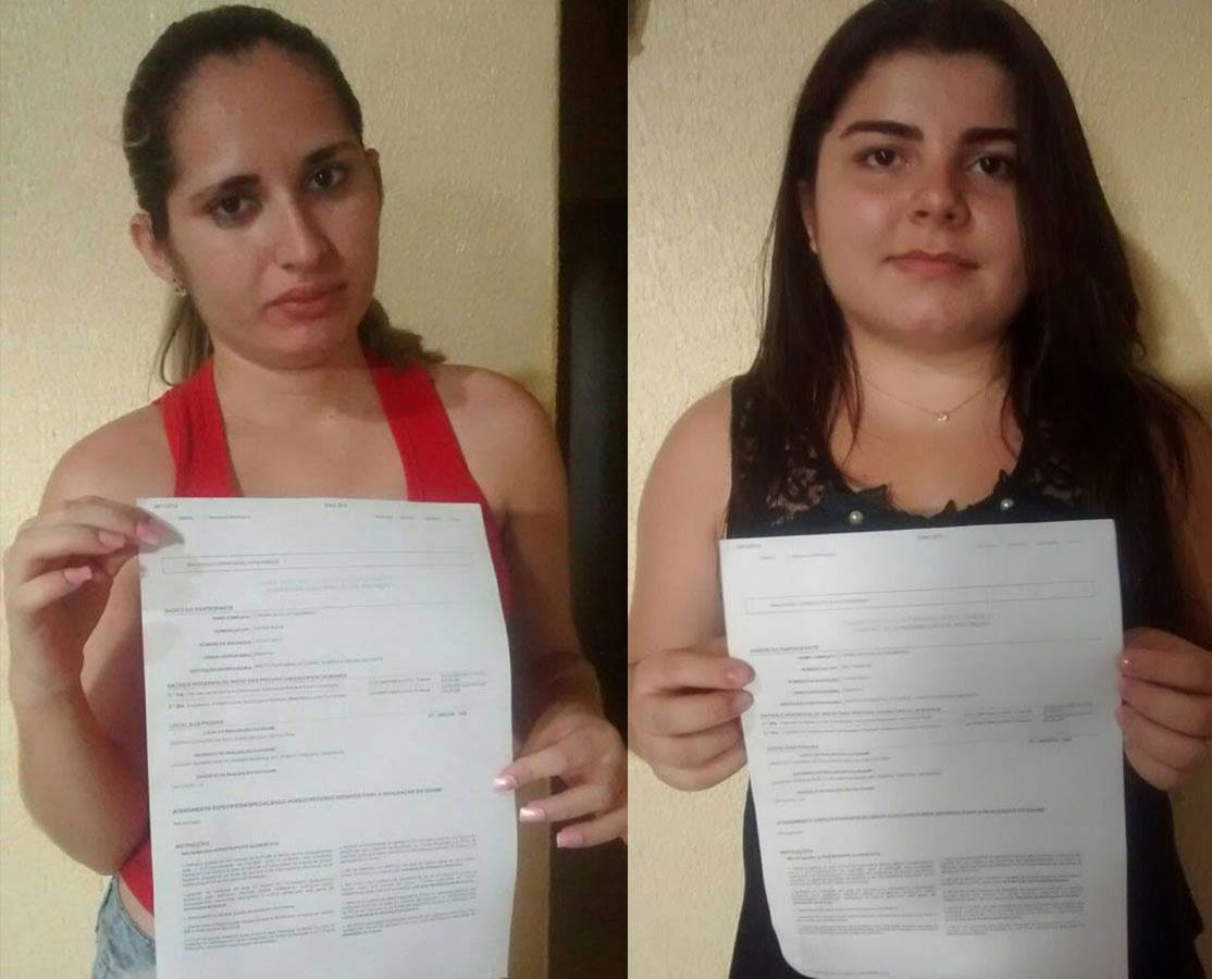 As irmãs Lorena (esq.) e Lorência (dir.) não puderam participar do exame por um erro do fiscal