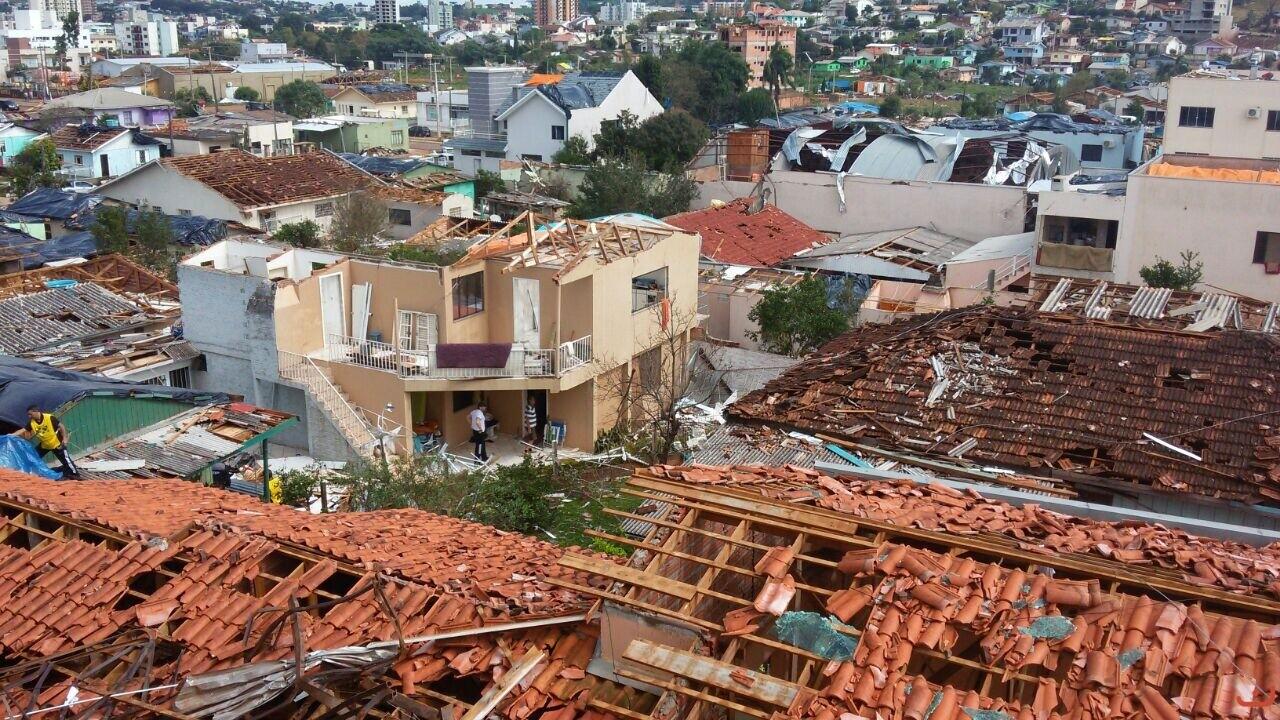 Tornado destruiu cerca de 500 imóveis Foto: Defesa Civil SC