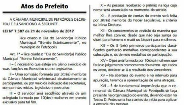 Petrópolis terá Dia do Servidor Público Municipal