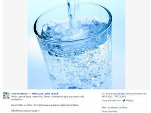 Usuário tenta vender copo de água para nordestinos no Facebook