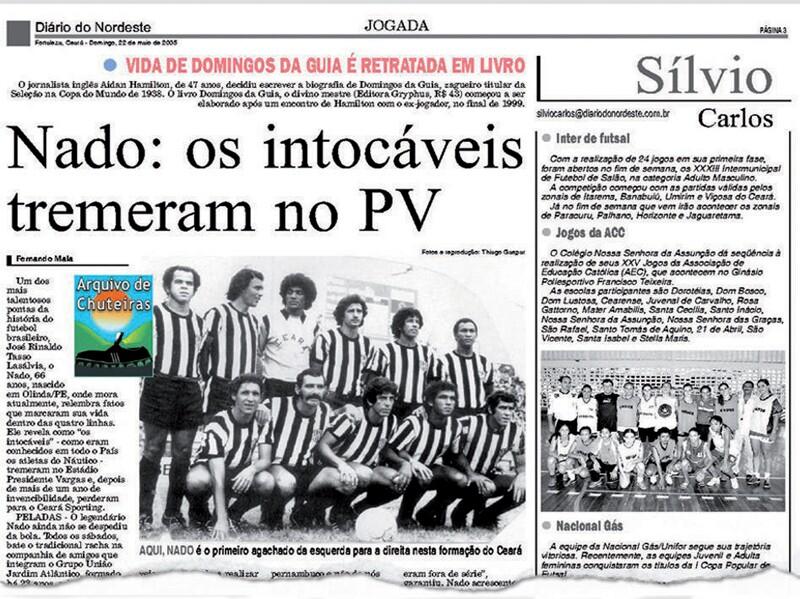 Fac-símile: Matéria publicada em 22 de maio de 2005, em série especial do caderno Jogada, trazia um olhar do ponta Nado, atleta do Náutico na decisão de 1964